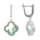 Серебряные серьги Плавающие камни в цветке с зелеными и белыми фианитами