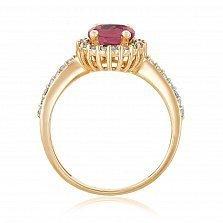 Кольцо в красном золоте Альда с красным корундом и фианитами
