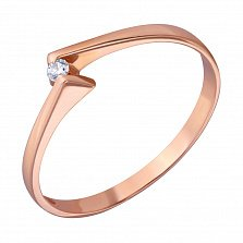 Кольцо из красного золота Встреча с бриллиантом