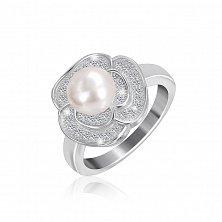 Серебряное кольцо с жемчугом и фианитами Розалинда