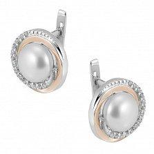 Серебряные серьги Лючия с золотой вставкой, жемчугом и фианитами