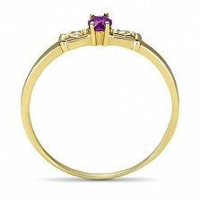 Золотое кольцо Секреты султана в желтом цвете с аметистом и фианитами