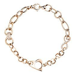 Золотой браслет в красном цвете с разными элементами- звеньями и фианитами 000118438