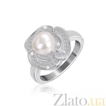 Серебряное кольцо с жемчугом и фианитами Розалинда 000025493