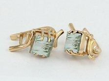 Золотые сережки с зеленым аметистом Ирэна