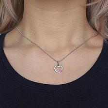 Серебряный кулон Сердце с малиновым фианитом