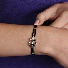 Серебряный браслет Якорь с шелковыми вставками