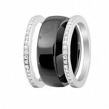 Серебряное разборное кольцо Trendy Choice с черной керамикой и завальцованными фианитами