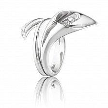 Золотое кольцо Калла в белом цвете с фантазийной шинкой и бриллиантами