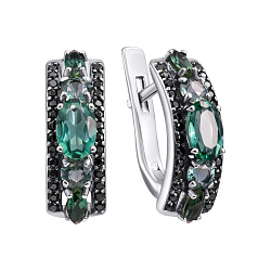Серебряные серьги Улексия с зеленым кварцем и черными фианитами