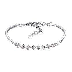 Золотой браслет в белом цвете с цирконием Swarovski 000101605