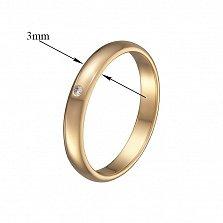 Обручальное кольцо в красном золоте Вечная классика с бриллиантом