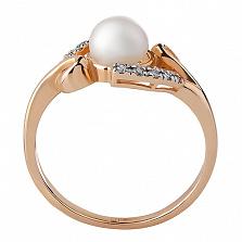 Кольцо из красного золота Августа с жемчугом и бриллиантами