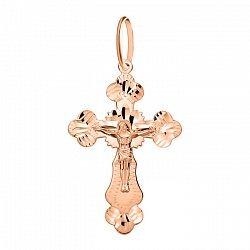 Крестик из красного золота с алмазной гранью 000106460