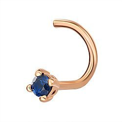 Пирсинг для носа из красного золота с фианитом 000146023