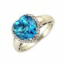 Кольцо в белом золоте с топазом и бриллиантами Сердце