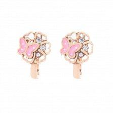 Золотые серьги Бабочки на цветах с белыми фианитами и розовой эмалью