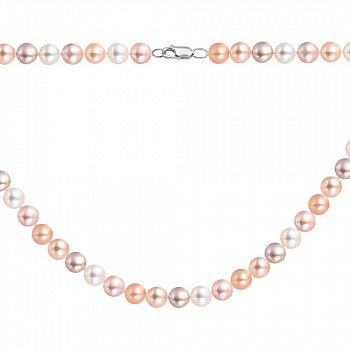 Серебряные бусы из розового и белого жемчуга