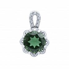 Кулон серебряный с зеленым кварцем Валенсия