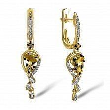 Серьги из желтого золота Донна с бриллиантами, хризолитами и хризопразами