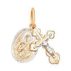 Крестик с ладанкой из серебра Духовное совершенство с позолотой 000028641