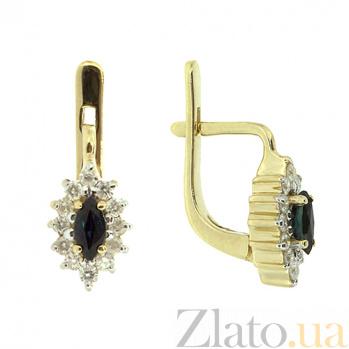 Золотые серьги в желтом цвете с бриллиантами и сапфирами Ялта ZMX--BLS-167y_K