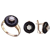 Золотое кольцо с агатом и фианитом Полнолуние