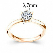 Золотое кольцо желтого цвета с бриллиантом Теплое чувство, 3,7мм