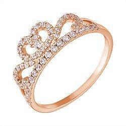 Кольцо-корона из красного золота с фианитами 000121353