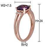 Кольцо Лондон из красного золота с аметистом и бриллиантами