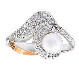 Серебряное кольцо с жемчугом и золотой вставкой Тайна