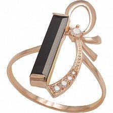 Золотое кольцо с агатом и фианитами Подарок судьбы