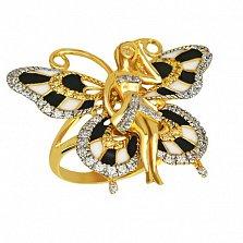 Кольцо из желтого золота Психея с фианитами