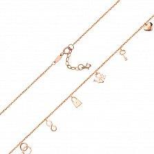 Золотое колье в красном цвете Признаки любви с символичными подвесками