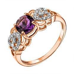 Кольцо из красного золота с аметистом, фианитами и родированием 000137286