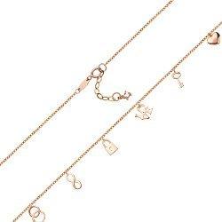 Золотое колье в красном цвете Признаки любви с символичными подвесками 000105700