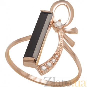 Золотое кольцо с агатом и фианитами Подарок судьбы 000024532