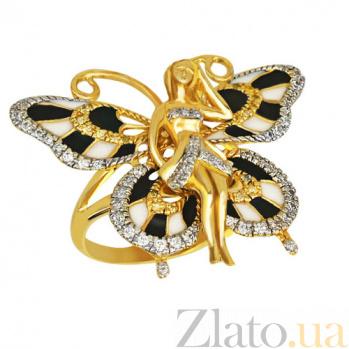 Кольцо из желтого золота Психея с фианитами VLT--ТТ1045-1