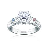 Золотое кольцо c сапфиром и топазами Сердце