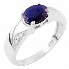 Серебряное кольцо Сольвейг с сапфиром и фианитами