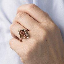 Золотое кольцо Робертина с оранжевыми и коньячными фианитами