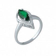 Серебряное кольцо Эрин с синтезированным изумрудом и фианитами
