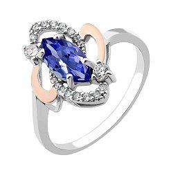 Серебряное кольцо с золотыми накладками, синим альпинитом и белыми фианитами 000106760