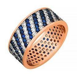 Серебряное кольцо Мириады звезд с позолотой, синими и белыми фианитами 000033977