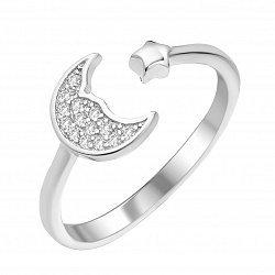 Серебряное кольцо с разомкнутой шинкой с фианитами 000112725