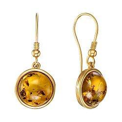 Серебряные серьги-подвески с янтарем и позолотой 000139170