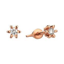 Сережки-пуссети з червоного золота з діамантом 000145451
