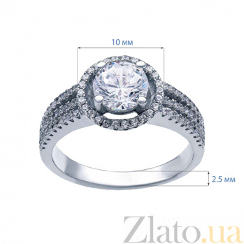 Серебряное кольцо с цирконами Кристель AQA--R0373-2_akv
