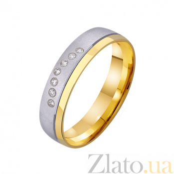 Золотое обручальное кольцо Венский вальс с фианитами TRF--432237