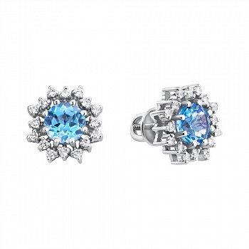 Серебряные серьги-пуссеты с белыми фианитами и голубыми топазами 000098817
